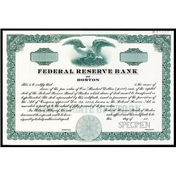 Federal Reserve Bank of Boston, Specimen Stock.