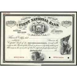 First National Bank of Batavia, Specimen Stock.