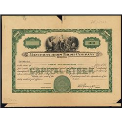 Manufacturer's Trust Co. Proof Stock Certificate.