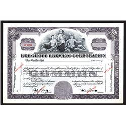 Berghoff Brewing Corp., ca. 1930's Specimen Stock Certificate.