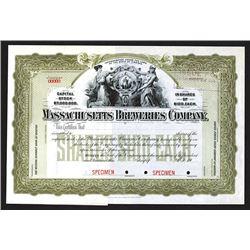Massachusetts Breweries Co., ca. 1900 Specimen Stock Certificate.