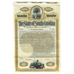 State of South Carolina, 1912 Specimen Bond