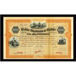 Credito Hipotecario De Bolivia ca.1900-1920 Specimen Bond.