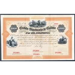 Credito Hipotecario De Bolivia Specimen Bond.