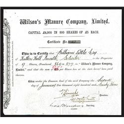 Wilson's Manure Co. Ltd., 1893 Issued Stock / Share Certificate.