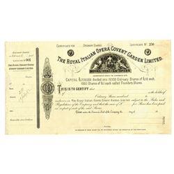 Royal Italian Opera Covent Garden LTD., ca.1880-1890 Specimen Stock