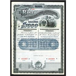 Banco Internacional e Hipotecario De Mexico, 1907 Specimen bond.