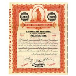 Cerveceria Cuauhtemoc 1927 Specimen Bond