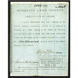 Mosquito Land Grants Certificate of Award Signed by Captain Edward Pim. 1868.