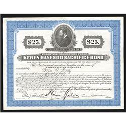 Palestine Foundation Fund - Keren Hayesod Sacrifice Bond, 1922.