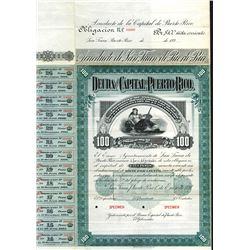 Deuda De La Capital De Puerto Rico, 1897 Specimen Bond.