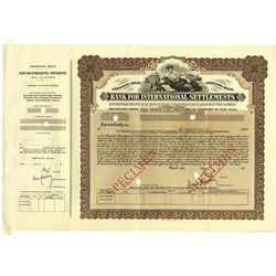 Bank for International Settlements, 1930 Specimen Bond