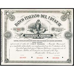 Banco Italiano Del Uruguay, 1887 Specimen Stock-Bond Certificate.