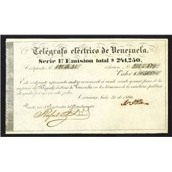 Telegrafo Electrico De Venezuela, 4 Shares of Stock, Issued in 1866.