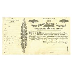 Shot Proof Armour Co., ca.1860-1870 Specimen/Proof Stock Certificate