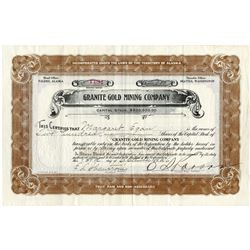 Granite Gold Mining Co., 1916 Issued Alaska Stock Certificate.
