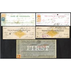Bank of California, Wells Fargo, Walker Brothers, 1866-1877 Quintet of Checks
