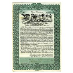 King and Queen Mining Co., 1906 Specimen Bond