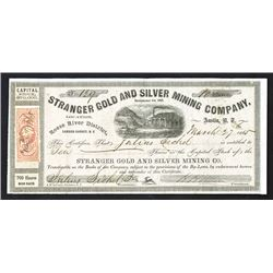 Stranger Gold and Silver Mining Co., Issued Stock Certificate.