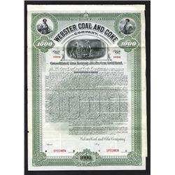 Webster Coal and Coke Co., 1902 Specimen Bond
