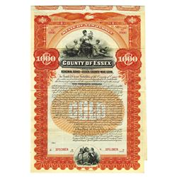 County of Essex, 1899 Specimen Bond