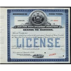 New York Steamboat License Specimen.