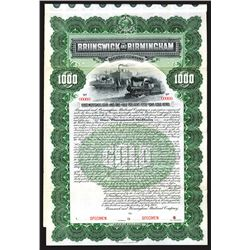 Brunswick and Birmingham Railroad Co. Specimen Bond.