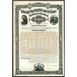 Chicago, Springfield and  St. Louis Railroad Co., 1883 issued Bond.