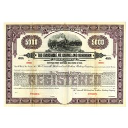 Evansville, Mt. Carmel and Northern Railway Co., 1910 Specimen Bond