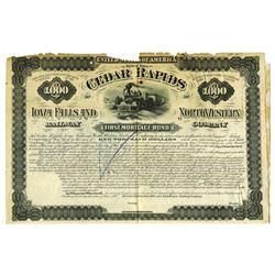 Cedar Rapids Iowa Falls and North Western Railway Co., 1880 Specimen Bond
