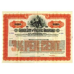 Sioux City and Pacific Railroad Co., 1901 Specimen Bond