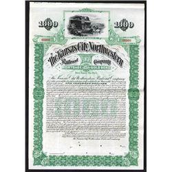 Kansas City Northwestern Railroad Co., 1894 Specimen Bond