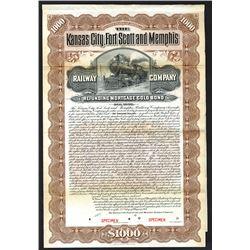 Kansas City, Fort Scott and Memphis Railway Co., 1901 Specimen Bond