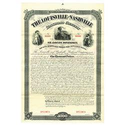 Louisville and Nashville Railroad Co. St. Louis Division, 1881 Specimen Bond