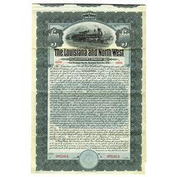 Louisiana and North West Railroad Co., 1905, Specimen Bond