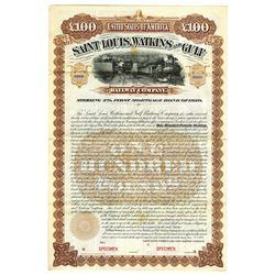Saint Louis, Watkins and Gulf Railway Co., 1902 Specimen Bond