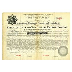 Chicago, St. Louis and New Orleans Railroad Co., 1881 Specimen Bond