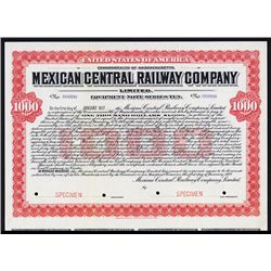 Mexican Central Railway Co. 1907 Specimen Bond.