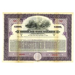 Boston and Maine Railroad, 1926 Specimen Bond