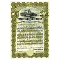 Minneapolis and St. Louis Railroad Co., 1914 Specimen Bond
