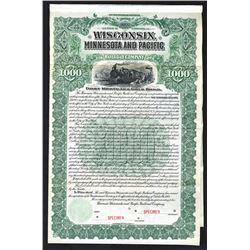 Wisconsin, Minnesota and Pacific Railroad Co., 1900 Specimen Bond