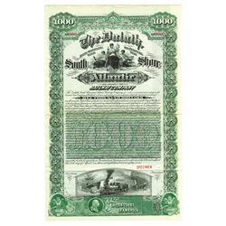 Duluth, South Shore and Atlantic Railway Co., 1887 Specimen Bond