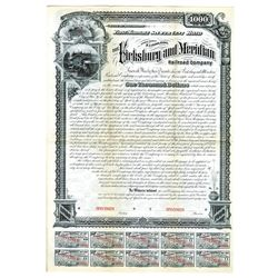 Vicksburg and Meridian Railroad Co., 1881 Specimen Bond