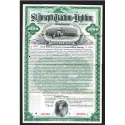 St. Joseph Traction and Lighting Co., 1893 Specimen Bond