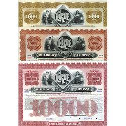Erie Railroad Co., 1896 Specimen Registered Bond Trio.
