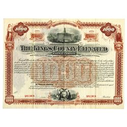 Kings County Elevated Railway Co., 1893 Specimen Bond