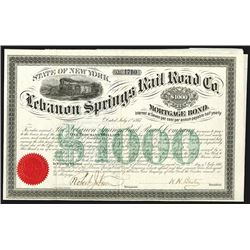 Lebanon Springs Rail Road Co. 1867.