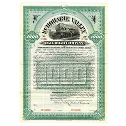 Schoharie Valley Railroad Co., 1899 Specimen Bond