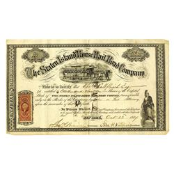 Staten Island Horse Railroad Co., 1867 Issued Stock Certificate.