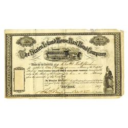 Staten Island Horse Railroad Co., 1867 Partially Issued Stock Certificate.